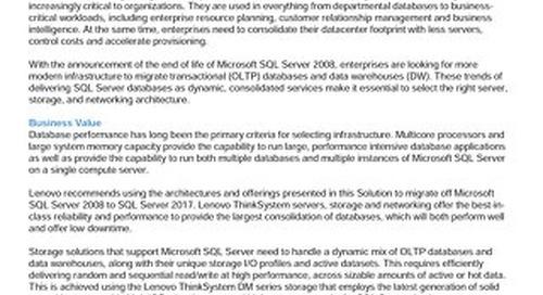 Lenovo Database Solution for Microsoft SQL Server