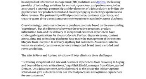 inRiver and Aprimo Partner to Bridge the Product Data to Consumer Content Gap