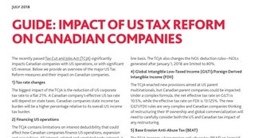 [Guide] US tax reform's impact on canadian companies