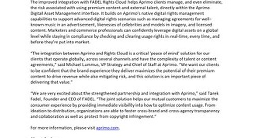 Aprimo Releases Expanded Integration with Rights Cloud™ by FADEL®