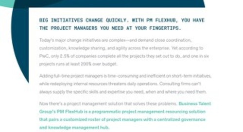 Business Talent Group Key Strengths: PM FlexHub