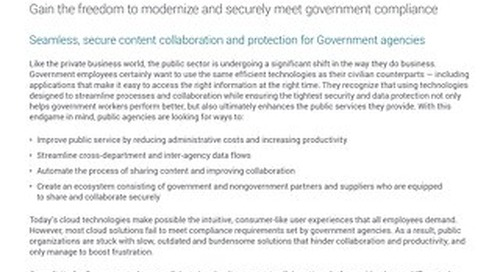 Syncplicity for Government. To compose a digital workplace, go modern.