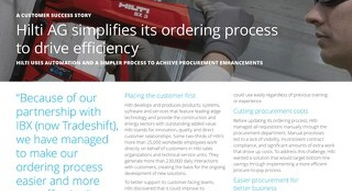 Hilti AG simplifies its ordering process to drive efficiency