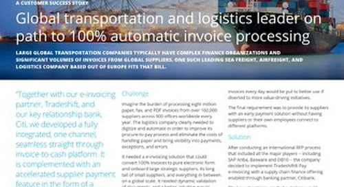 Global Transportation and Logistics Leader on Path to 100% Automatic Invoice Processing