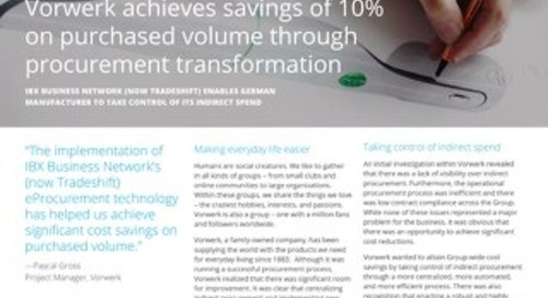 Vorwerk Achieves Savings of 10% on Purchased Volume Through Procurement Transformation