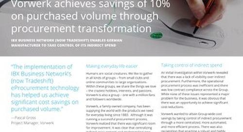 Vorwerk Achieves Savings of 10% on Purchased Volume Through Procurement Transformation