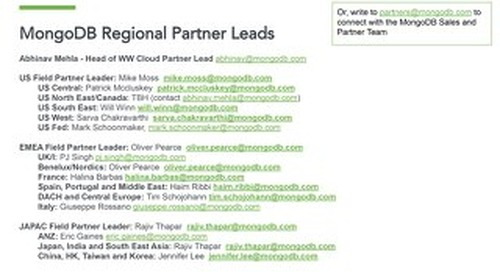 Contacts: MongoDB Regional Partner Leaders