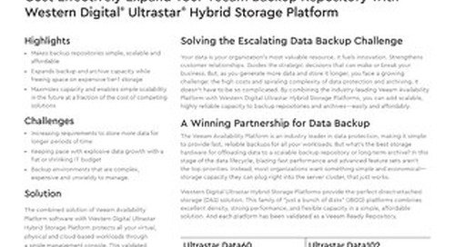 Cost-Effectively Expand Your Veeam Backup Repository with Ultrastar Hybrid Storage Platform