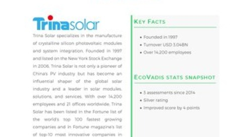 Trina Solar Focuses On Improving Sustainability Performance