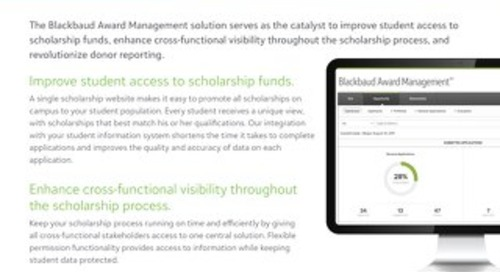 Blackbaud Award Management: Scholarship Management and Donor Reporting