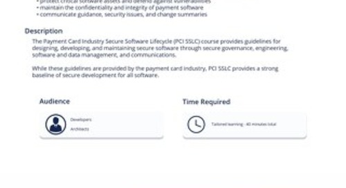 PCI 102 - PCI Secure Software Lifecycle