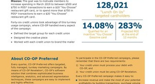 CO-OP Preferred 2019 Q1 Debit Campaign Results