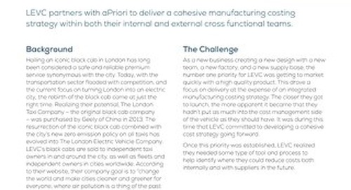 Automotive Engineering Company Identifies 25-40% Savings Using aPriori