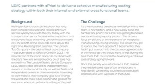 Automotive Engineering Company Identifies 25-40% Savings Using aPriori