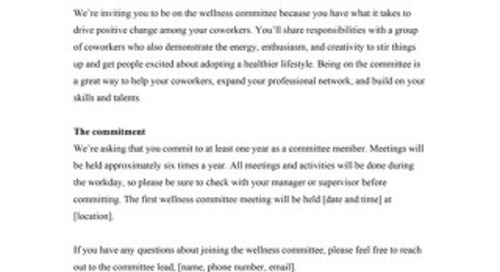 Wellness Committee Recruitment Email