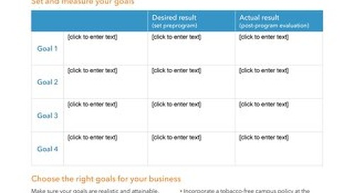 Workforce Health Goal Setting Worksheet