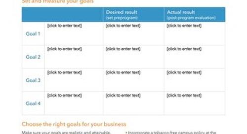Workforce Health Goal Setting Worksheet