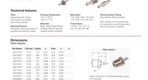 52 Series Nickel Plated Brass Barb Fitting datasheet