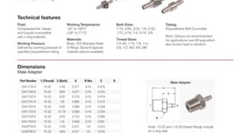 53 Series Stainless Steel Barb Fitting datasheet