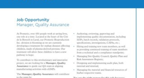 Manager, Quality Assurance