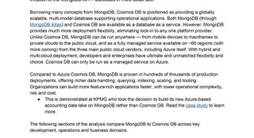 Comparing MongoDB and Cosmos DB