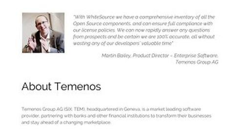 How WhiteSource Helps Temenos Serve 500 Million Customers' Daily Banking Needs