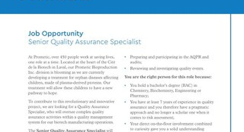 Quality Assurance Specialist – Validation and Engineering