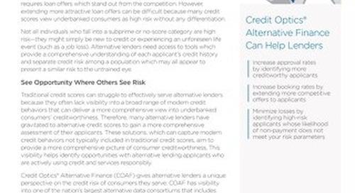 Credit Optics® Alternative Finance