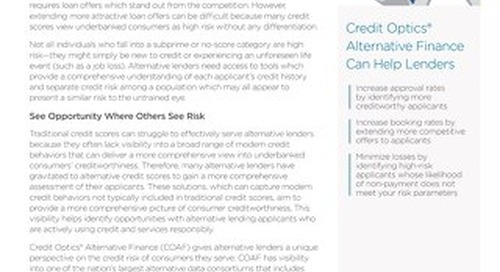 Credit Optics® Alternative Finance