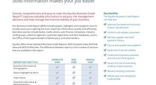 Business Credit Report - Product Sheet - Canada - EN