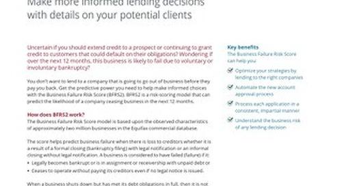 Business Failure Risk Score - Product Sheet - Canada - EN