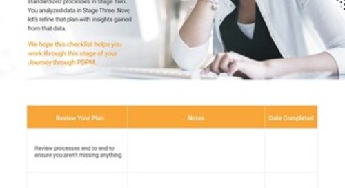 PDPM Checklist - Stage 4 Optimize