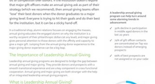 White Paper: Should you have a leadership Annual Giving program?