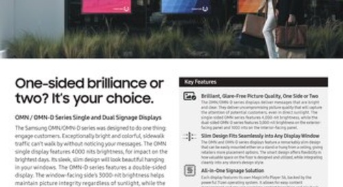 One-sided brilliance or two? It's your choice: OMN / OMN-D Series Single and Dual Signage Displays