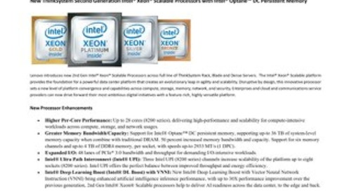 Lenovo ThinkSystem 2nd Generation Intel Xeon Processors Guide