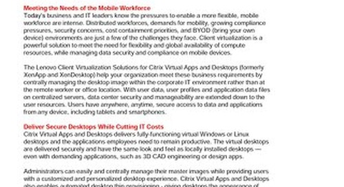 Lenovo Client Virtualization Solutions for Citrix Virtual Apps and Desktops