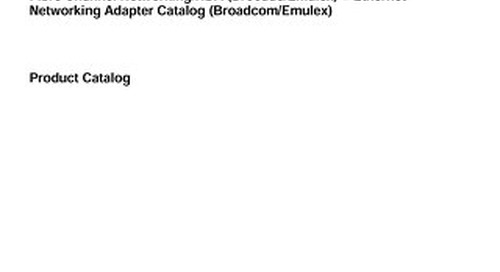 Lenovo Broadcom Product Catalog