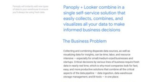 Looker & Panoply Solution Brief: See Data Clearly and Quickly - All in One Place