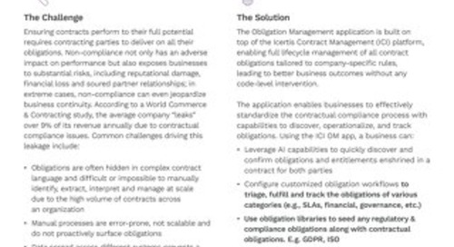 Solution Brief | ICI Obligation Management app
