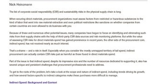 Addressing CSR and Sustainability Goals Through Improved Indirect Spend Management | Spend Matters Analysis