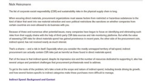 Addressing CSR and Sustainability Goals Through Improved Indirect Spend Management   Spend Matters Analysis