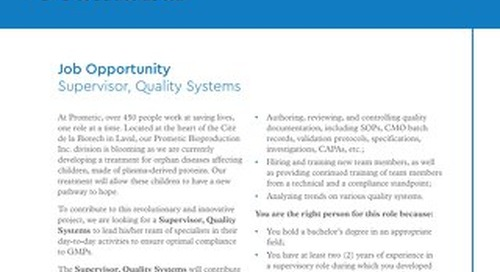 Supervisor, Quality Systems