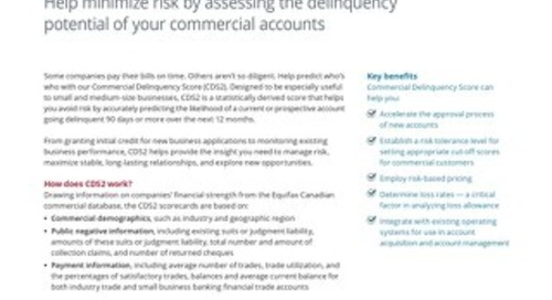Commercial Delinquency Score2 - Product Sheet - Canada - EN