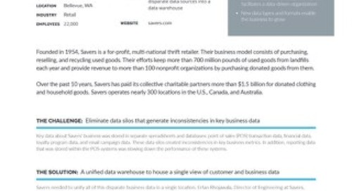 Leveraging a Data Warehouse to Drive Business Growth for a Nationwide Thrift Retailer