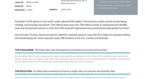 Savers: Leveraging a Data Warehouse to Drive Business Growth for a Nationwide Thrift Retailer