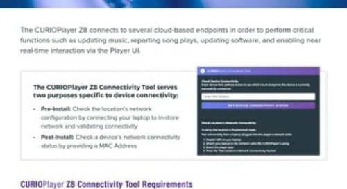 CURIOPlayer Z8 Connectivity Tool