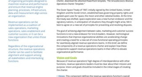 The SiriusDecisions Revenue Operations Charter Report