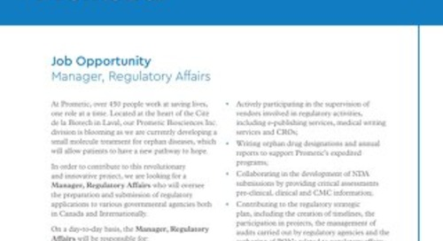 Manager, Regulatory Affairs