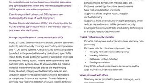 Datasheet: Trusted Telemetry for Medical Apps