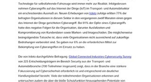 Only 6% of Transport and Automotive Organizations Have What They Need to Tackle Cybersecurity Challenges - German Version